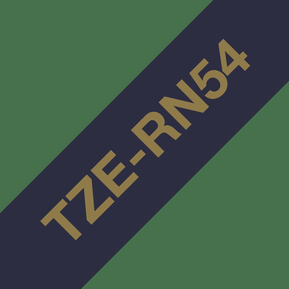 Original Brother TZe-RN54 satinbånd – Guld på marineblå, 24 mm bredt 3