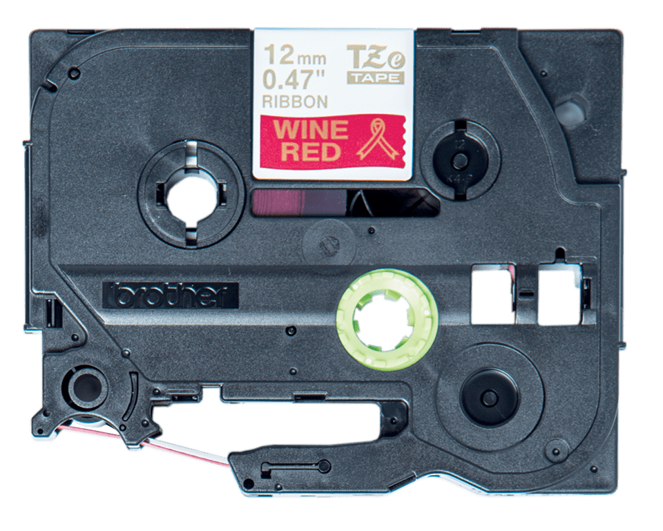 Original Brother TZe-RW34 satinbånd – guld på vinrød, 12 mm bred 6