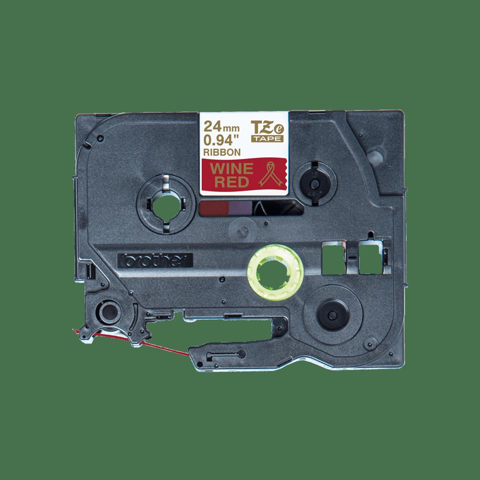 Originalt Brother TZe-RW54 satinbånd – Guld på vinrød, 24 mm bredt 4