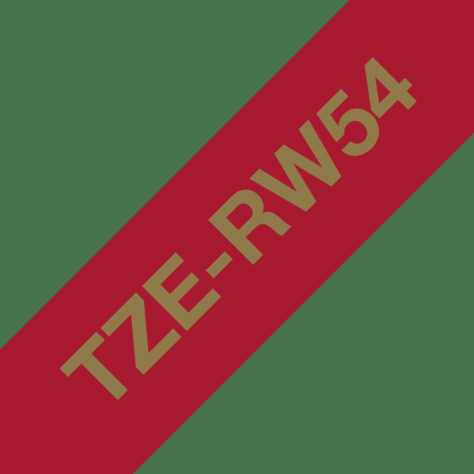 Originalt Brother TZe-RW54 satinbånd – Guld på vinrød, 24 mm bredt