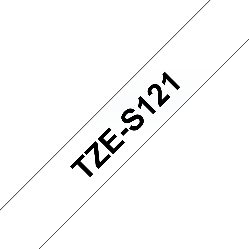Original Brother TZeS121 tape – sort på klar, 9 mm bred