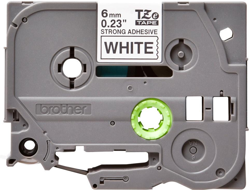 Original Brother TZeS211 tape – sort på hvid, 6 mm bred