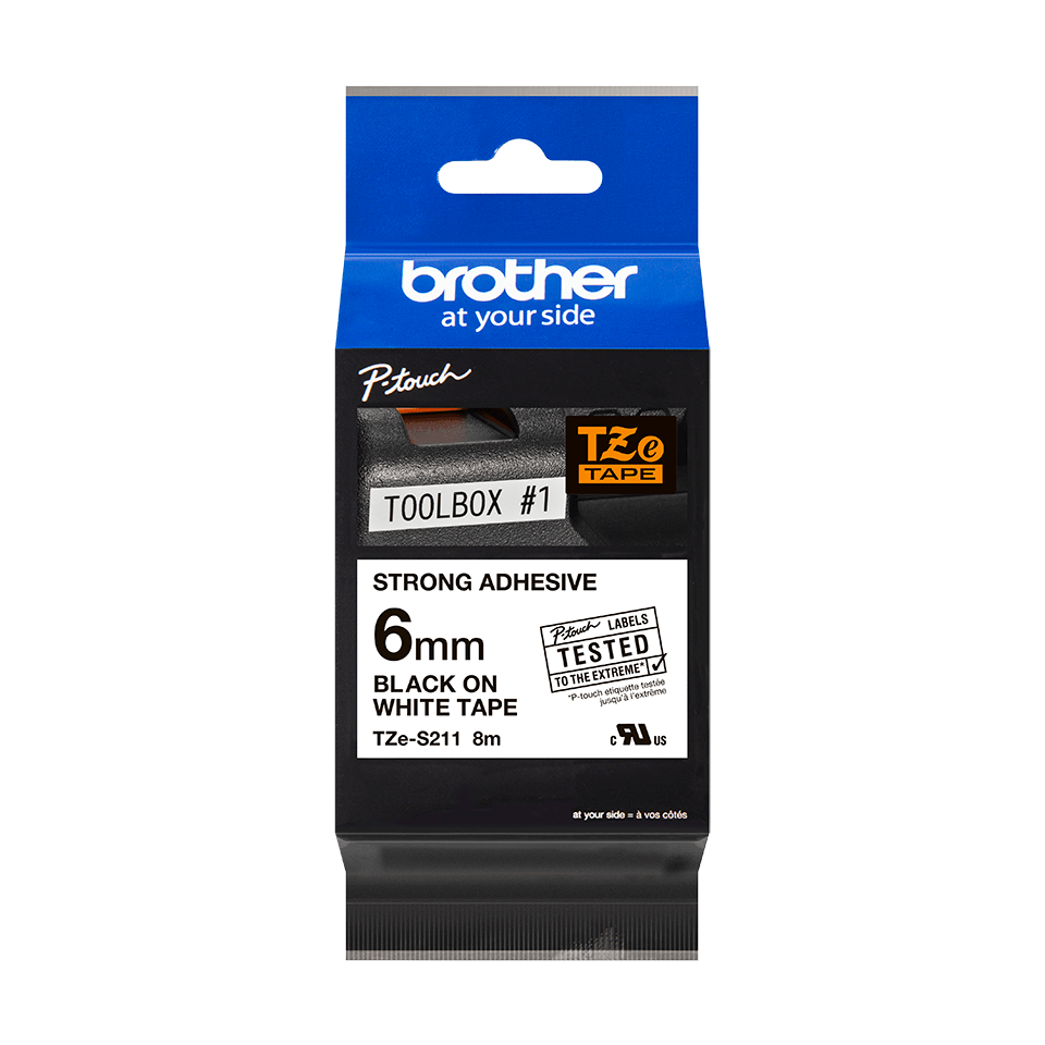 Original Brother TZeS211 tape – sort på hvid, 6 mm bred 3