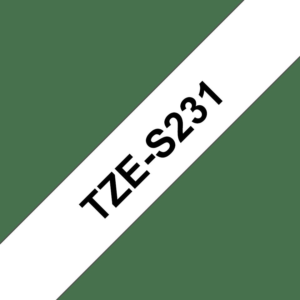 Original Brother TZeS231 tapekassette – sort på hvid, ekstra stærkt klæbende, 12 mm bred