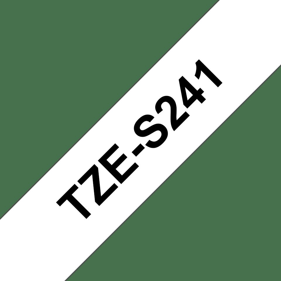 Original Brother TZeS241 tape – sort på hvid, 18 mm bred