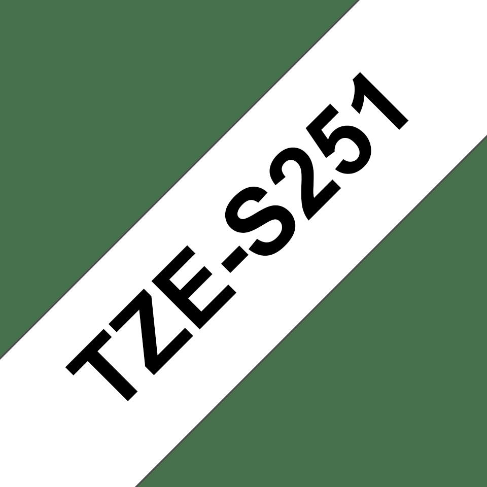 Original Brother TZe-S251 tape – sort på hvid, stærkt klæbende, 24 mm bred