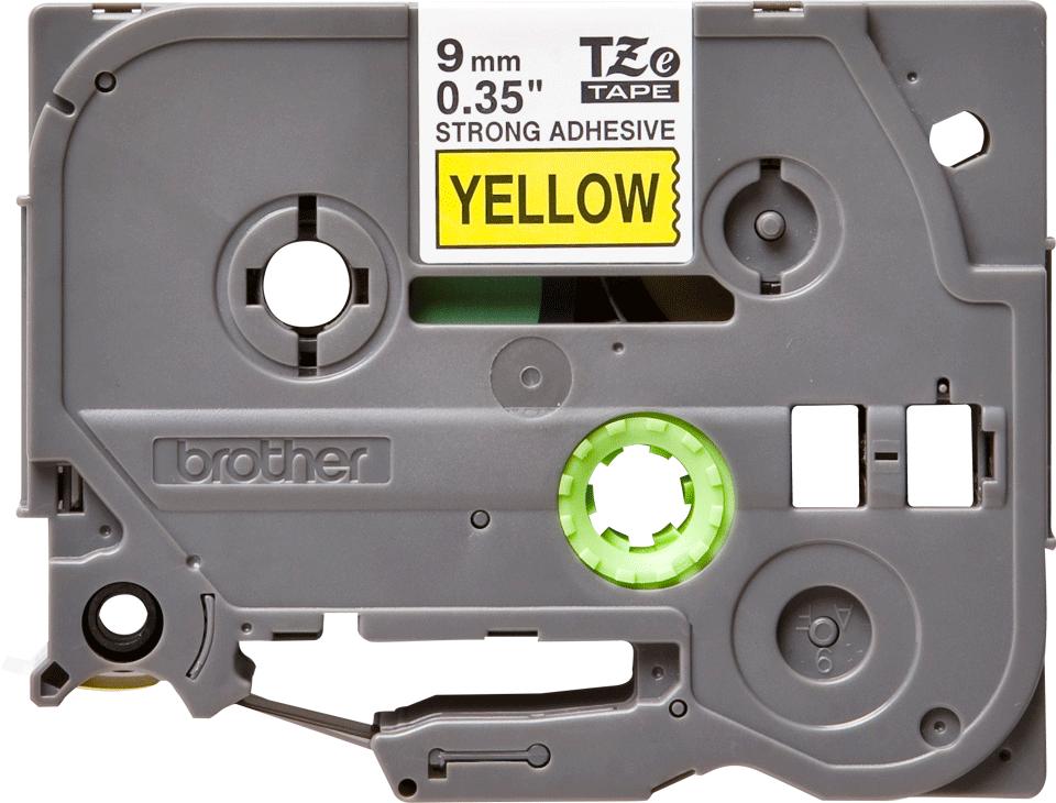 Original Brother TZeS621 tape – sort på gul, 9 mm bred 2