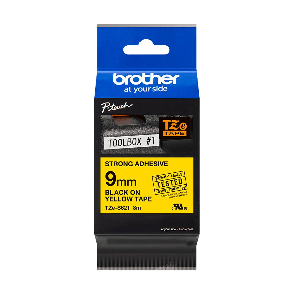 Original Brother TZeS621 tape – sort på gul, 9 mm bred 2