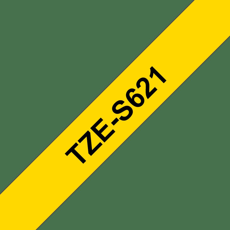 Original Brother TZeS621 tape – sort på gul, 9 mm bred