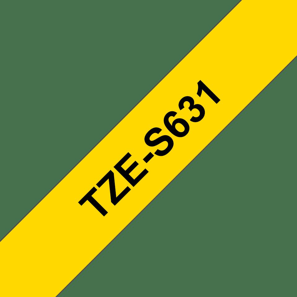Original Brother TZeS631 tape – sort på gul, 12 mm bred