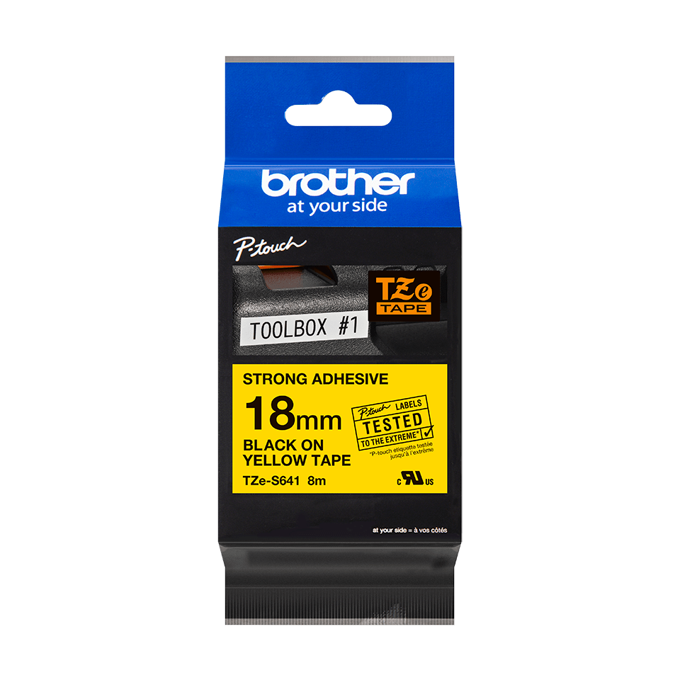 Original Brother TZeS641 tape – sort på gul, 18 mm bred 2