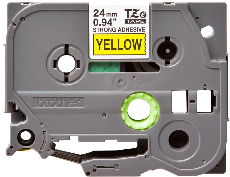 Original Brother TZeS651 tape – sort på gul, 24 mm bred