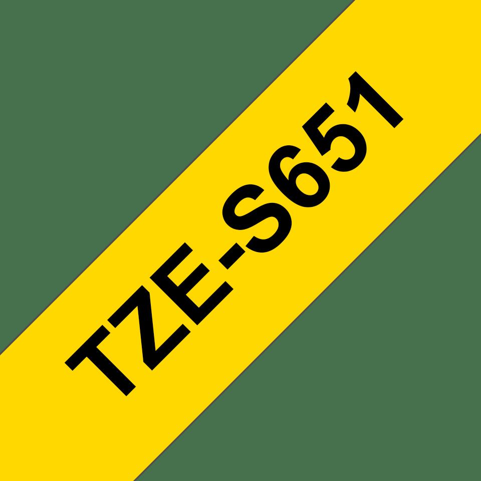 Original Brother TZeS651 tape – sort på gul, 24 mm bred 3